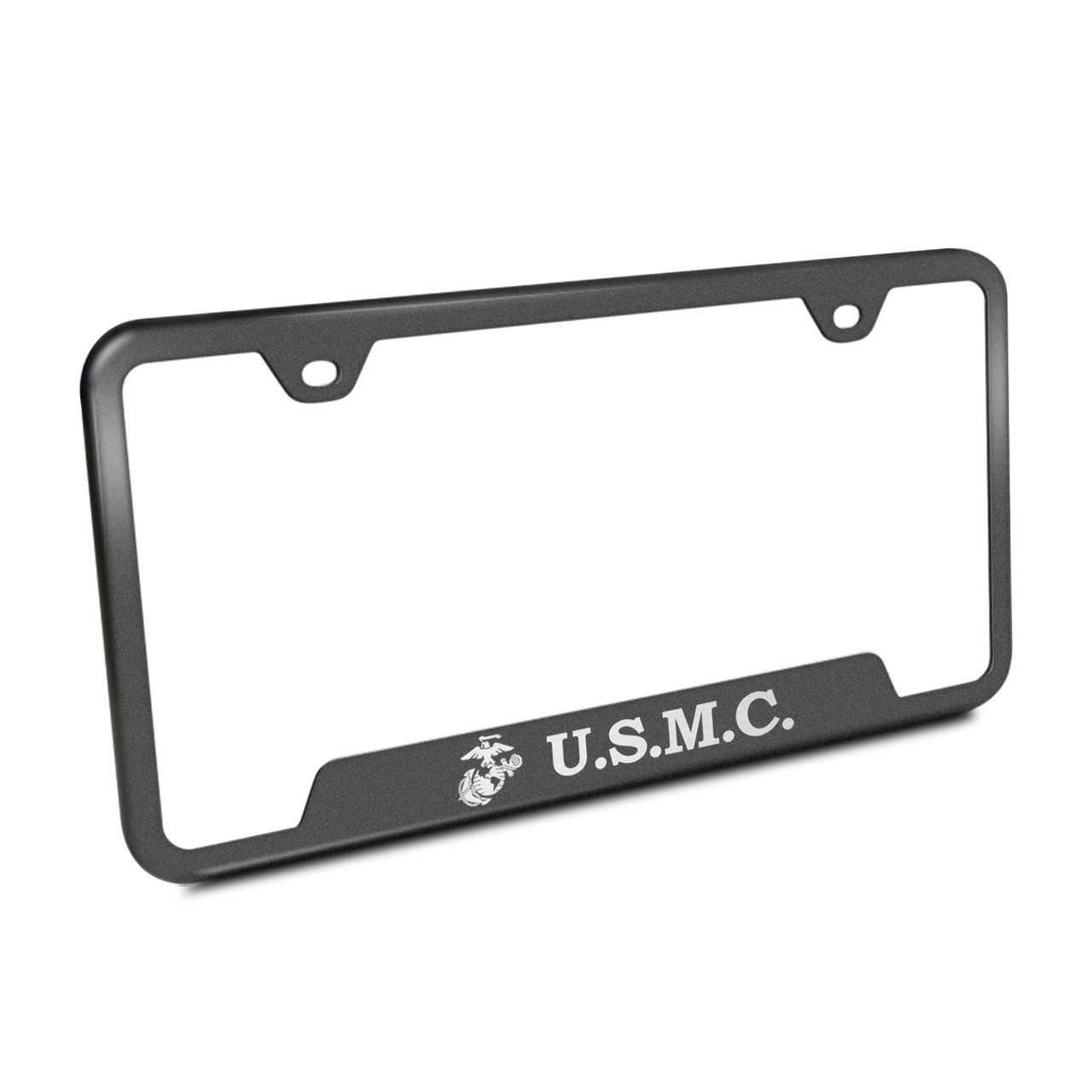 Us Marine Corps Rugged Finish Black Stainless Steel License Plate