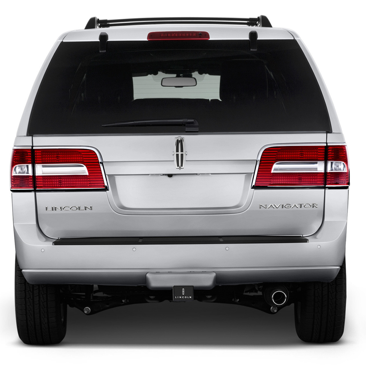 Made in USA iPick Image Lincoln Logo UV Graphic White Metal Plate on ABS Plastic 2 inch Tow Hitch Cover