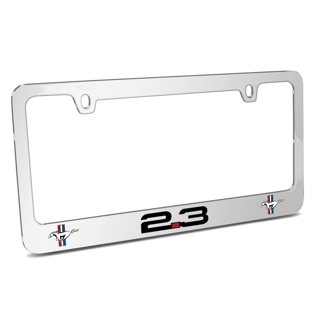 Ford Mustang 2.3L EcoBoost Dual Logo Mirror Chrome Metal License ...