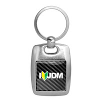 JDM JDM-as-Fck Black Carbon Fiber Backing Brush Rectangle Metal Key Chain