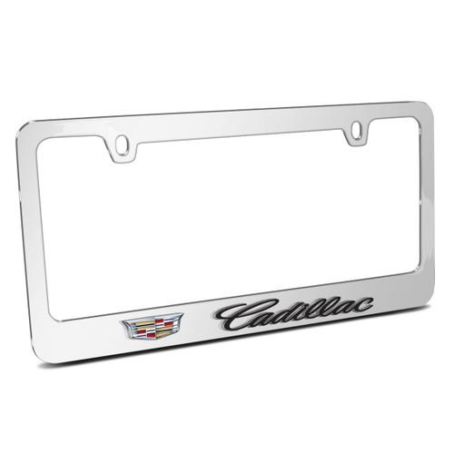 Cadillac 3D Logo Mirror Chrome Metal License Plate Frame