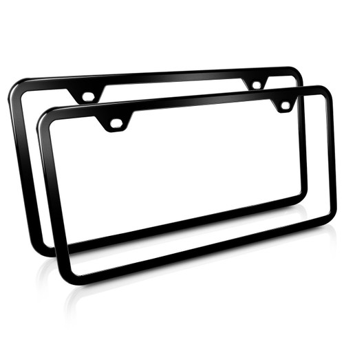 2 Slim Black Stainless Steel 2 Holes License Plate Frames, Pair