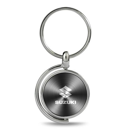 Suzuki Gray Brushed Metal Spinner Key Chain