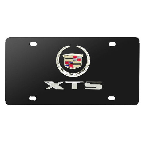Cadillac XTS Laser Style Stainless Steel Black License Plate Frame Caps