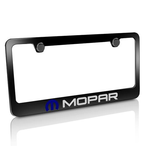 Mopar Logo Black Metal License Plate Frame for Dodge, Chrysler, Jeep