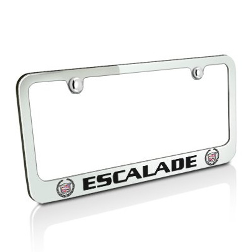 2X Cadillac ESCALADE W//logos Stainless Steel License Plate Frame Rust Free W//Cap