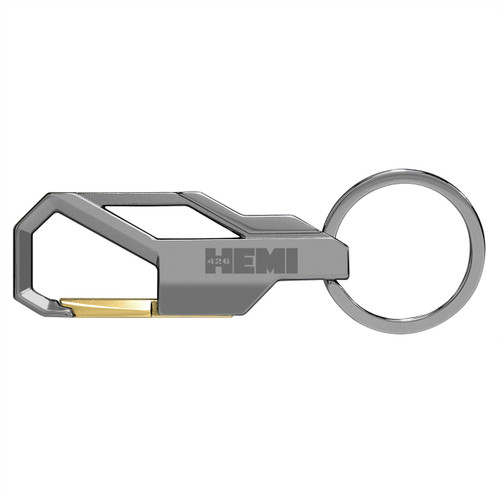 426 HEMI in HEMI Logo Gunmetal Gray Snap Hook Metal Key Chain