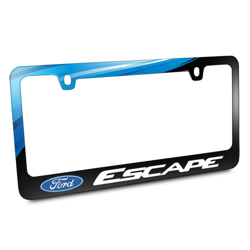 Ford Logo Escape Black Metal Graphic License Plate Frame