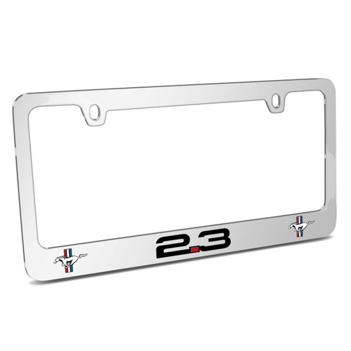 Ford Mustang 2.3L EcoBoost Dual Logo Mirror Chrome Metal License Plate Frame, Made in USA