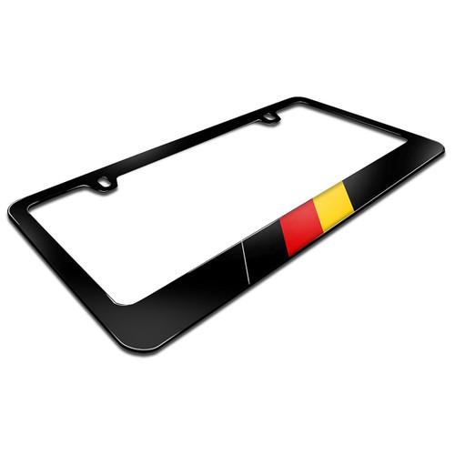 German Flag In Sports Stripe Black Metal License Plate