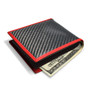 Genuine Bi-fold Black Carbon Fiber Wallet with Red Stitched Edge