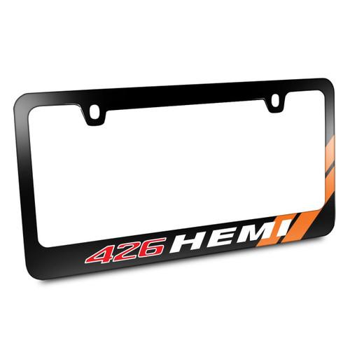 426 HEMI Orange Stripe Black Metal License Plate Frame by iPick ...