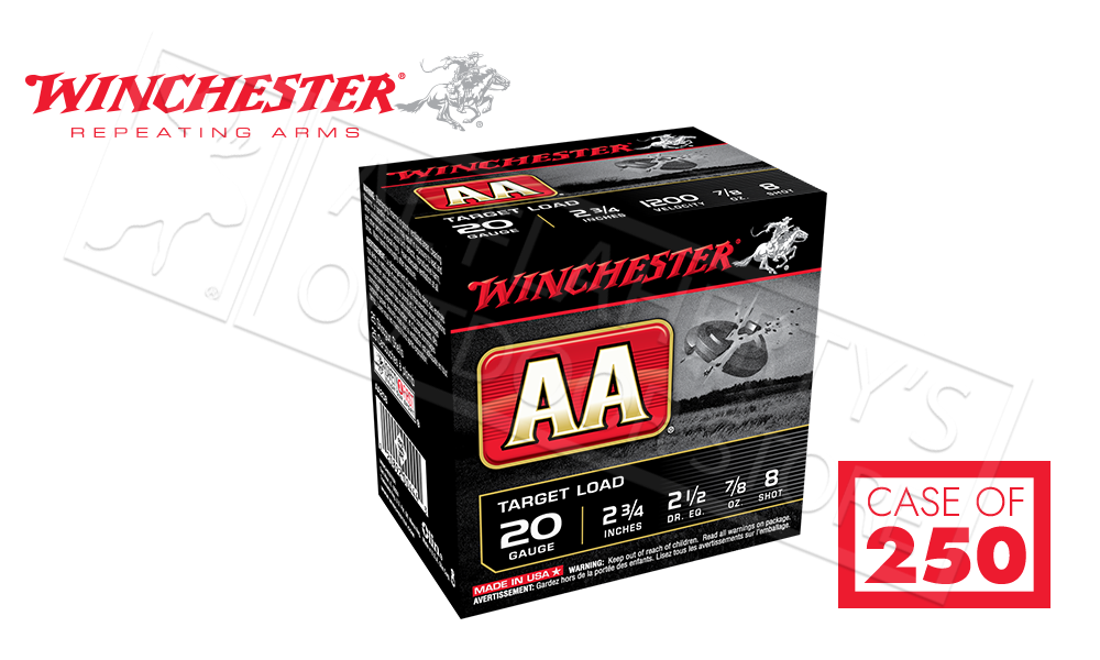"""(Store Pick Up Only) Winchester AA 20 Gauge #8, 2-3/4"""" Case of 250 Shells #AA208CASE"""