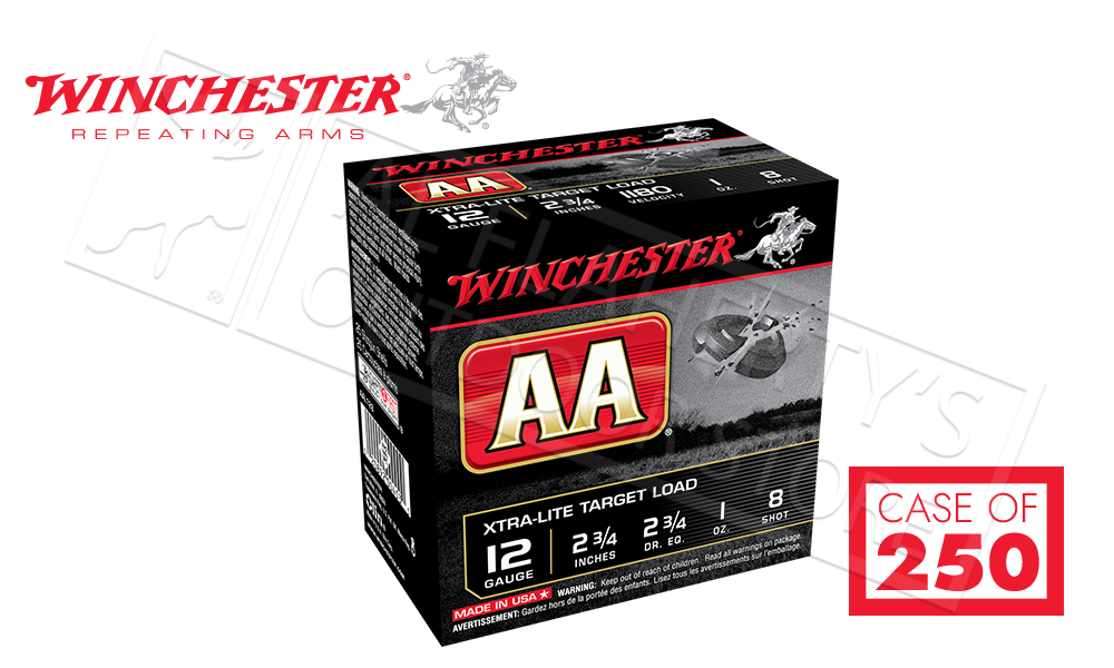 """(Store Pick Up Only) Winchester AA Xtra-Lite Target Load 12 Gauge #8, 2-3/4"""" Case of 250 Shells #AAL128CASE"""