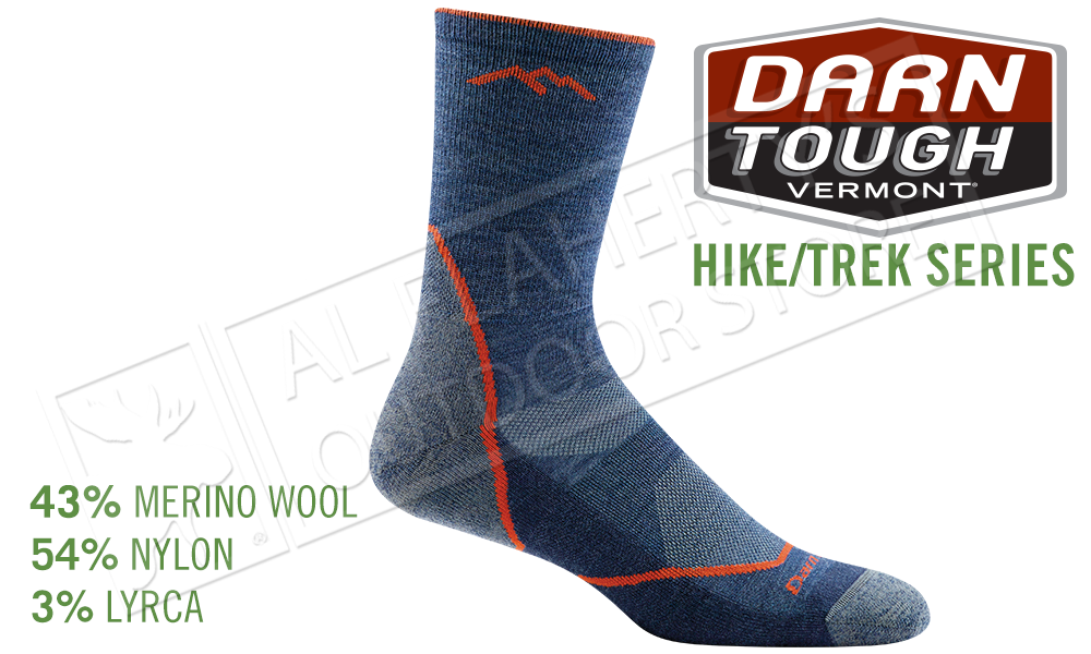 Darn Tough Sock Hike/Trek Light Hiker Micro Crew Sock with Light Cushion in Denim Pattern #1972