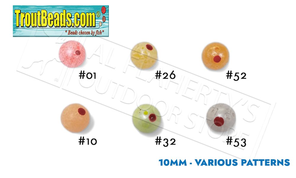 TroutBeads.com BloodDotEggs, 10mm Packs of 10, Various Patterns #BD10