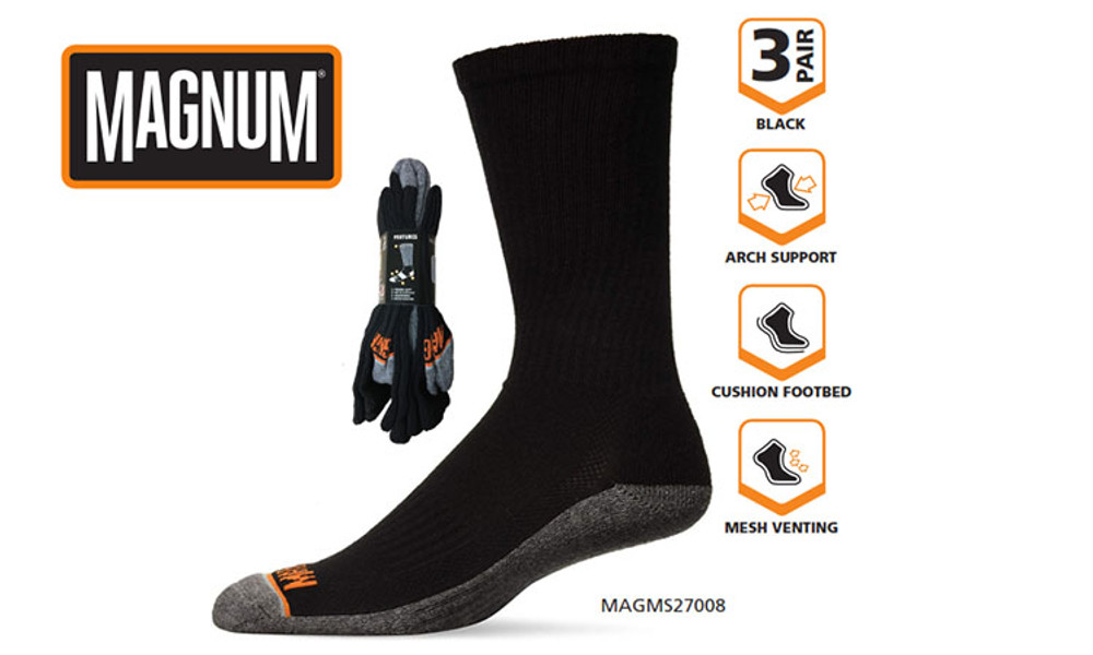 Magnum Men's Crew Sock 3 Pack Size 9-12