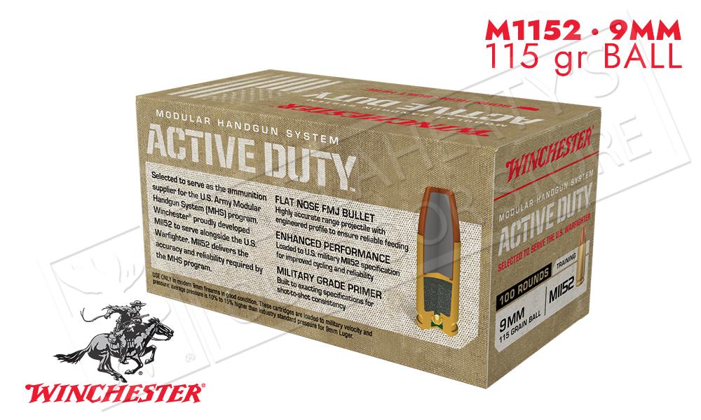 Winchester 9mm Active Duty 115 Grain FMJ-F Box of 100 #WIN9MHSC