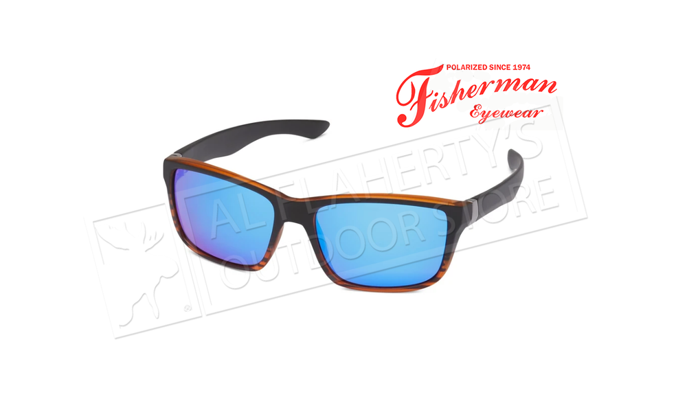 Fisherman Eyewear Cabana - Matte Black Tortoise Frame Front &  Black Temples /  Gray Lens with Blue Revo #50333031