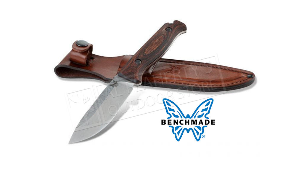 Benchmade 15002 Saddle Mountain Skinner Fixed Knife with Stabilized Wood handle and Leather Sheath #15002
