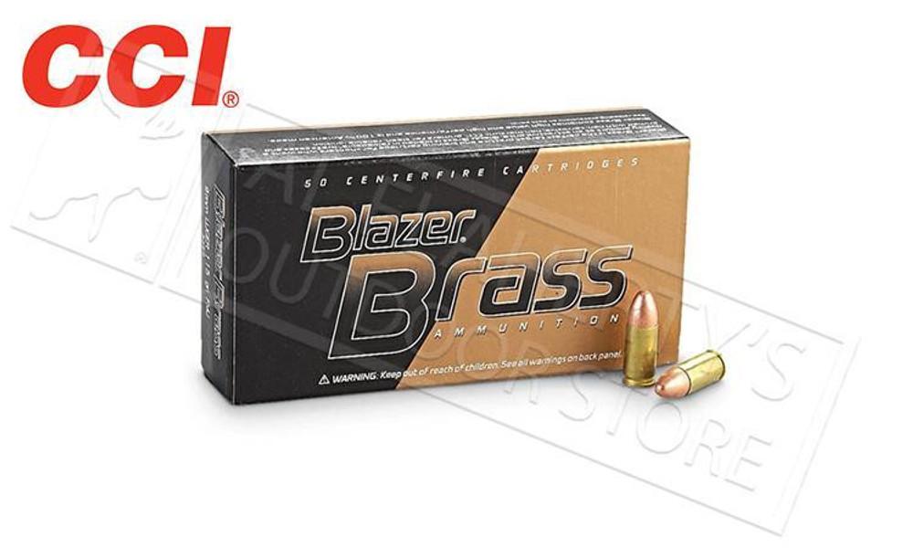 CCI BLAZER BRASS 9MM, 124 GRAIN FMJ, BOX OF 50