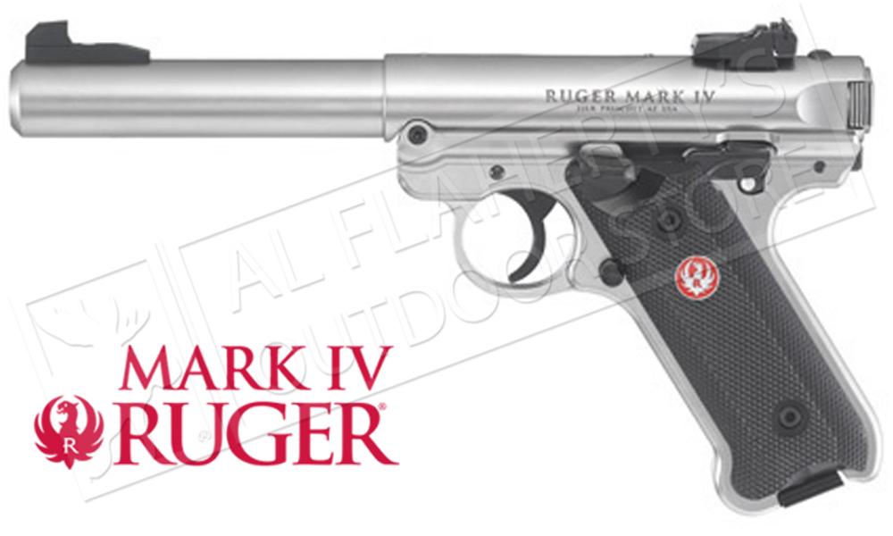 """RUGER MK IV STAINLESS TARGET PISTOL, 22LR 5.5"""" BARREL #40103"""