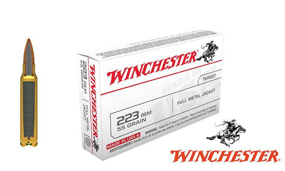Winchester .223 Rem White Box, FMJ 55 Grain Box of 20 #USA223R1