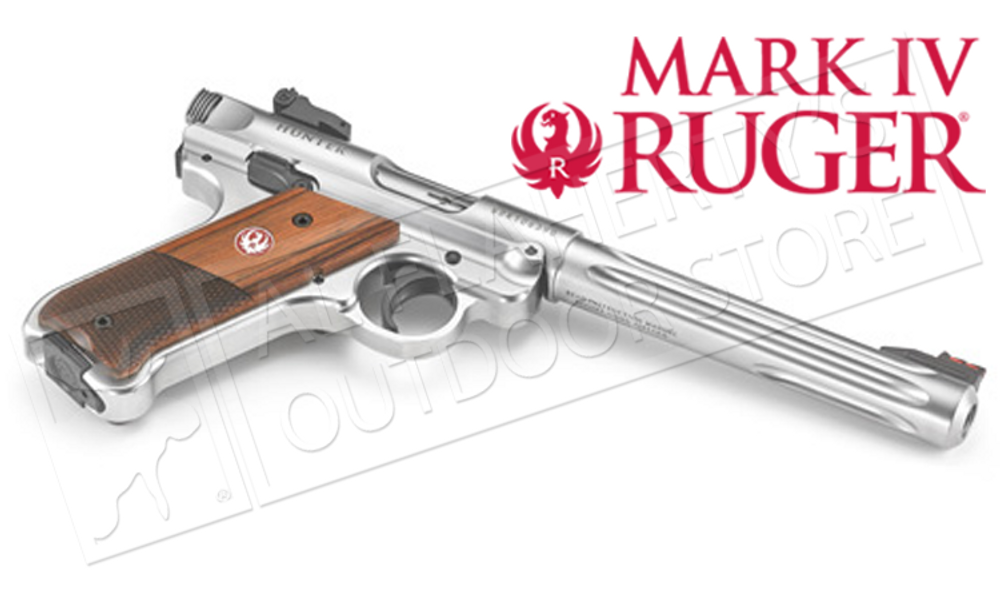 "RUGER MK IV HUNTER PISTOL, 22LR 6.88"" FLUTED BARREL"