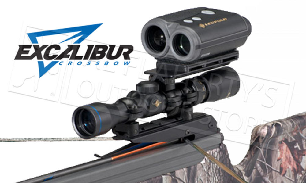 """Excalibur's Range Finder Mount suddenly makes your range finder an indispensable part of your crossbow hunting kit. It holds your range finder to the scope where it can be easily accessed for split-second confirmation of your target range before firing.  The mount features a Sorbothane shock reduction system to protect your range finder upon firing and can be easily removed when not required. It will accommodate both vertical or horizontal range finders. For use ONLY with crossbows and rimfire rifles. Designed for scopes with a 1"""" tube.  Does not work with the Tact-Zone Scope!"""