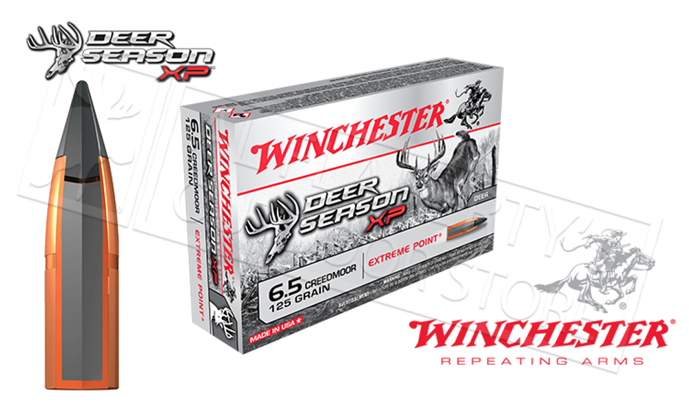 WINCHESTER 6.5 CREEDMOOR DEER SEASON XP, POLYMER TIPPED 125 GRAIN BOX OF 20