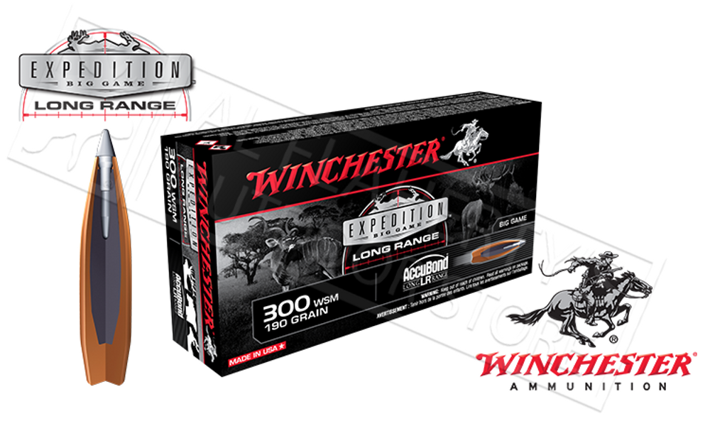 WINCHESTER 300WSM ACCUBOND EXPEDITION LR, POLYMER TIPPED BOAT-TAIL 190 GRAIN BOX OF 20