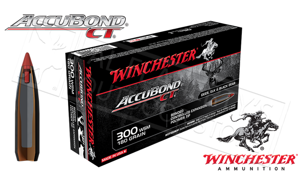 WINCHESTER 300 WSM ACCUBOND CT, POLYMER TIPPED 180 GRAIN BOX OF 20