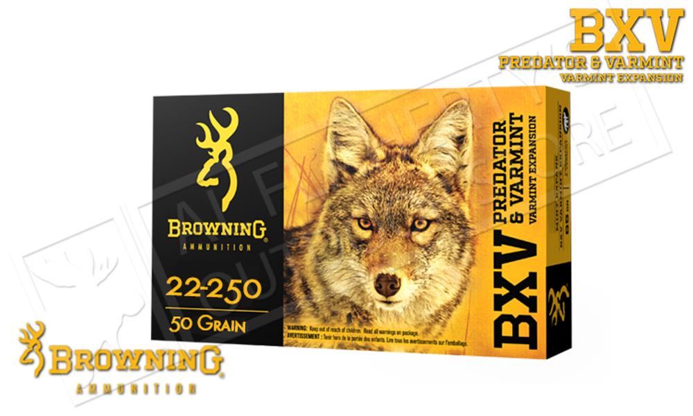 Browning Ammo 22-250 Rem BXV, 50 Grain Box of 20 #B192322250