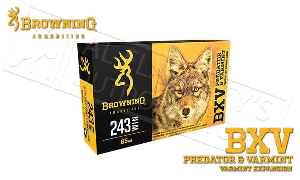 Browning Ammo 243 WIN BXV, 65 Grain Box of 20 #B192302431