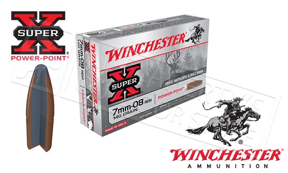 WINCHESTER 7MM-08 REM SUPER X, POWER POINT 140 GRAIN BOX OF 20