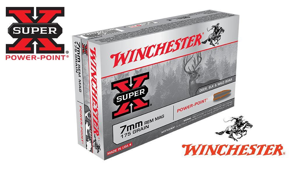 WINCHESTER 7MM REM MAG SUPER X, POWER POINT 175 GRAIN BOX OF 20