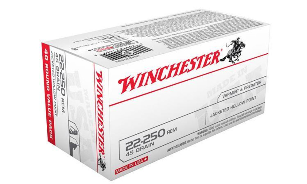 WINCHESTER 22-250 REM WHITE BOX, JHP 45 GRAIN BOX OF 40