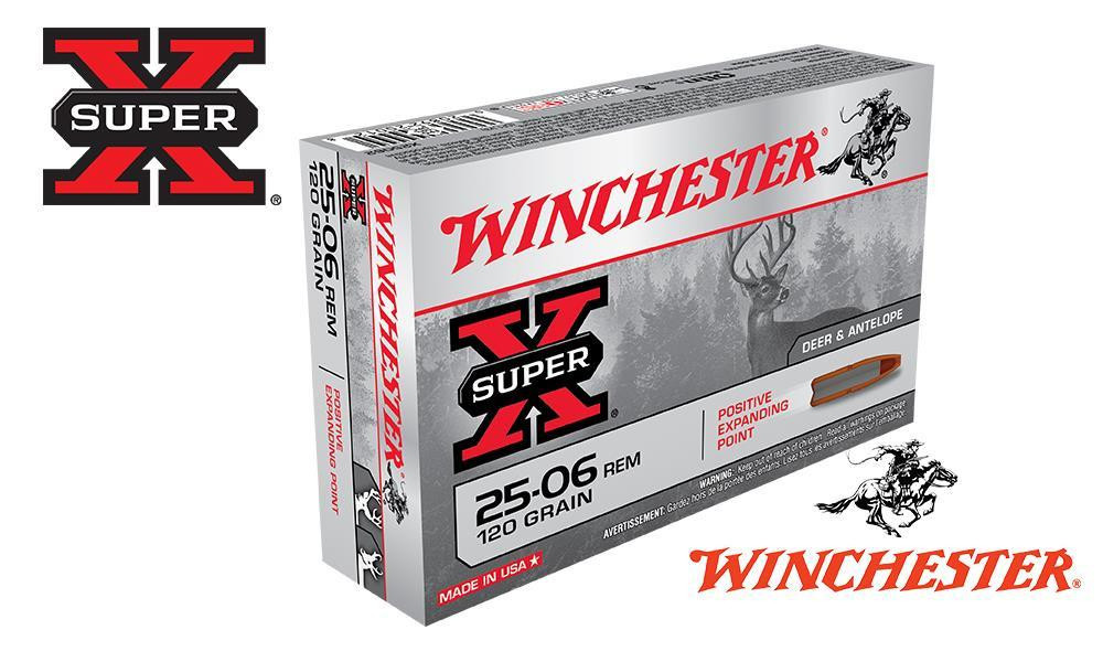 WINCHESTER 25-06 REM SUPER X, JSP 120 GRAIN BOX OF 20