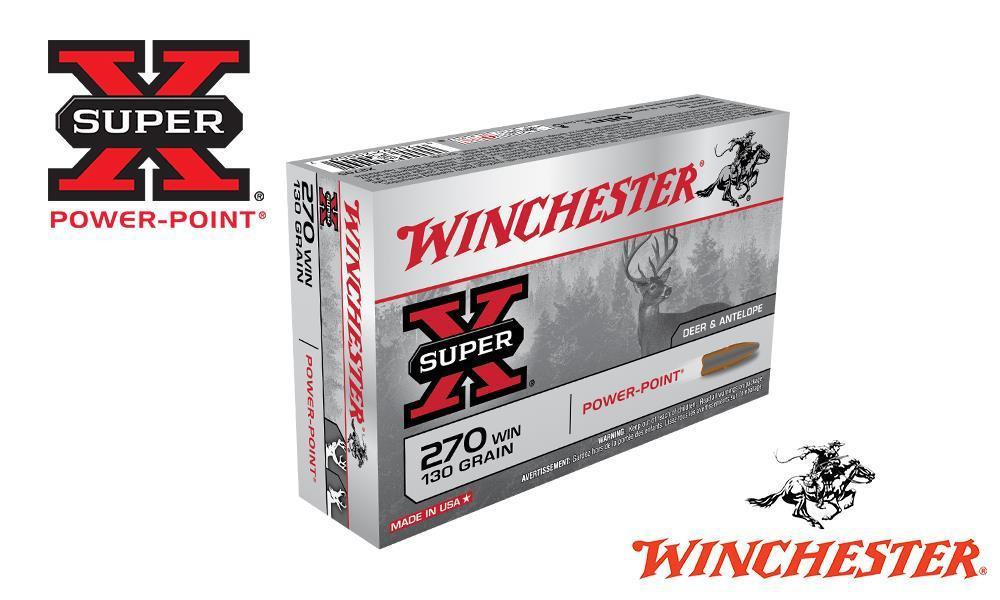 WINCHESTER 270 WIN SUPER X, POWER POINT 130 GRAIN BOX OF 20