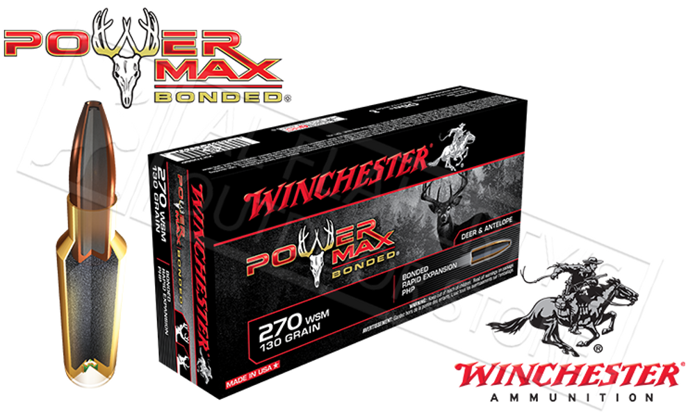 WINCHESTER 270 WSM POWER MAX, BONDED HP 130 GRAIN BOX OF 20