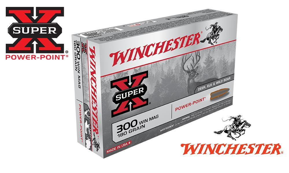 WINCHESTER 300 WINCHESTER MAGNUM SUPER X, POWER POINT 180 GRAIN BOX OF 20