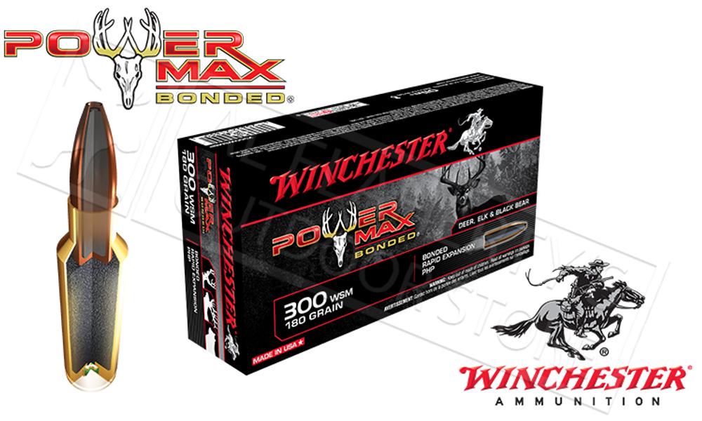 WINCHESTER 300 WSM POWER MAX, BONDED HP 180 GRAIN BOX OF 20