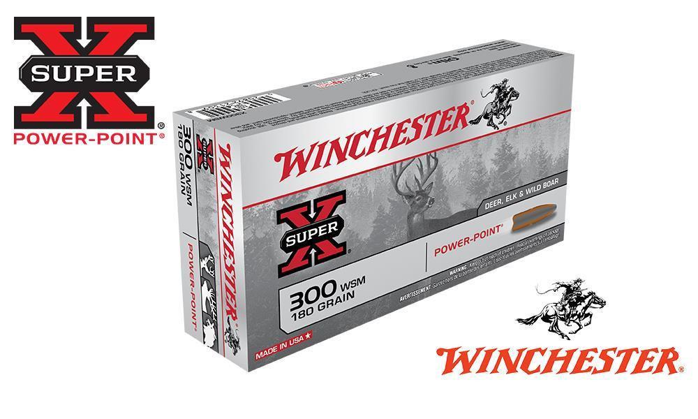 WINCHESTER 300 WSM SUPER X, POWER POINT 180 GRAIN BOX OF 20