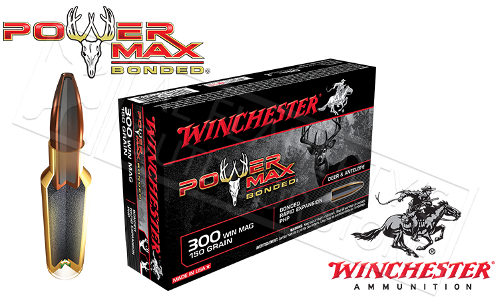 WINCHESTER 300 WINCHESTER MAGNUM POWER MAX, BONDED HP 150 GRAIN BOX OF 20