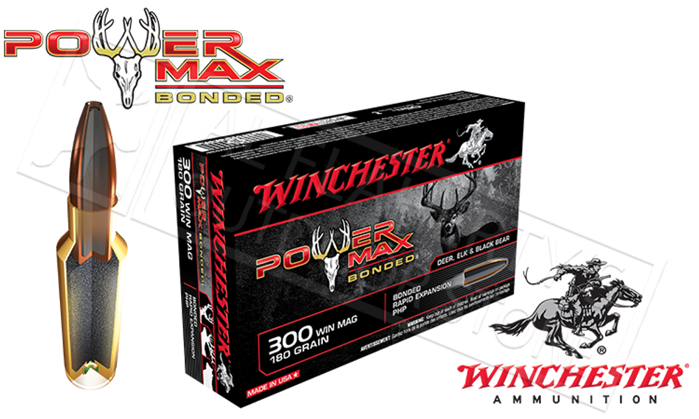 WINCHESTER 300 WINCHESTER MAGNUM POWER MAX, BONDED HP 180 GRAIN BOX OF 20