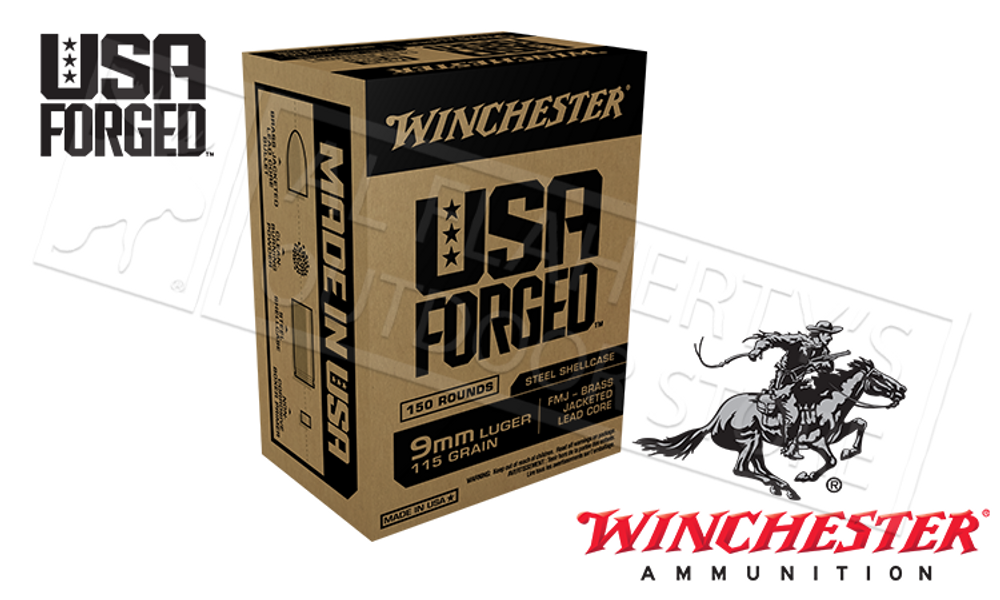WINCHESTER 9MM USA FORGED, FMJ 115 GRAIN BOX OF 150
