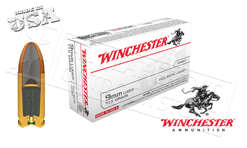 WINCHESTER 9MM WHITE BOX, FMJ 115 GRAIN BOX OF 50