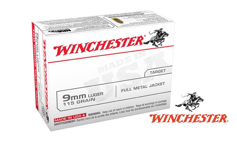 WINCHESTER 9MM VALUE PACK, 115G FMJ, BOX OF 100