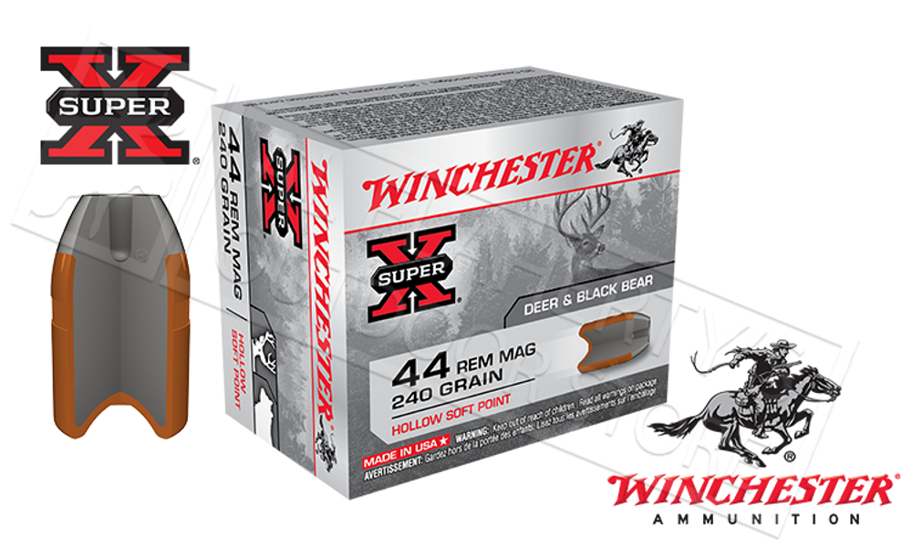 WINCHESTER 44 REM MAG SUPER-X, JSP 240 GRAIN BOX OF 20