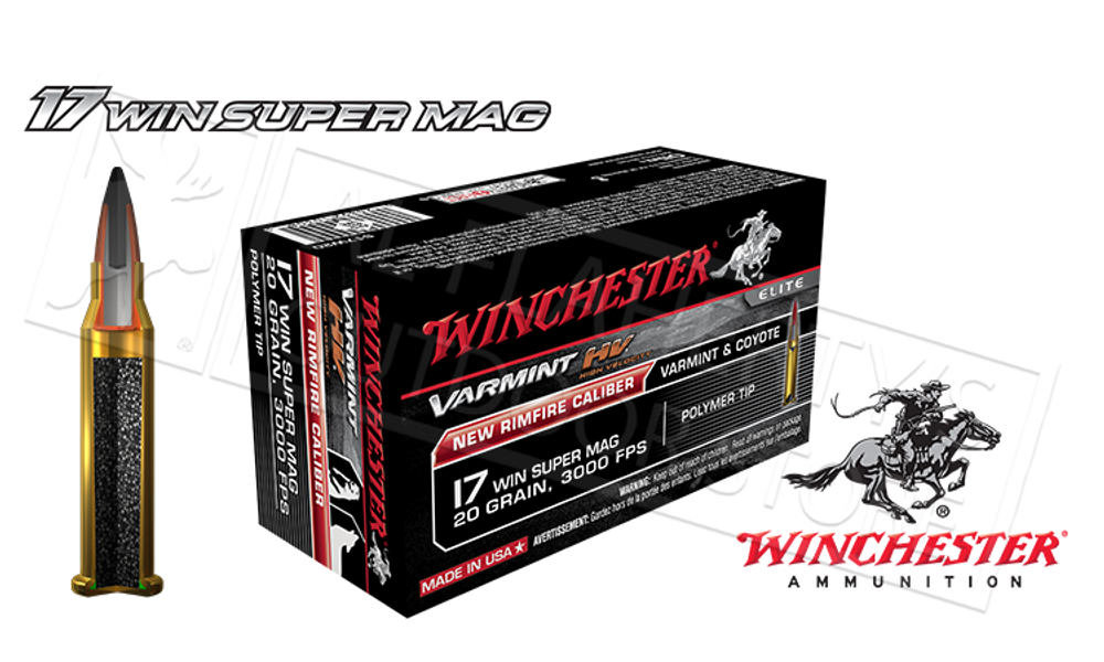 WINCHESTER 17WSM VARMINT HV, 20 GRAIN BOX OF 50